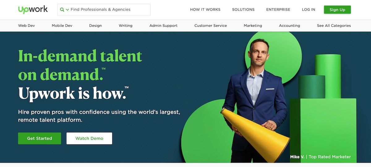 what is freelancing platform front page of upwork site