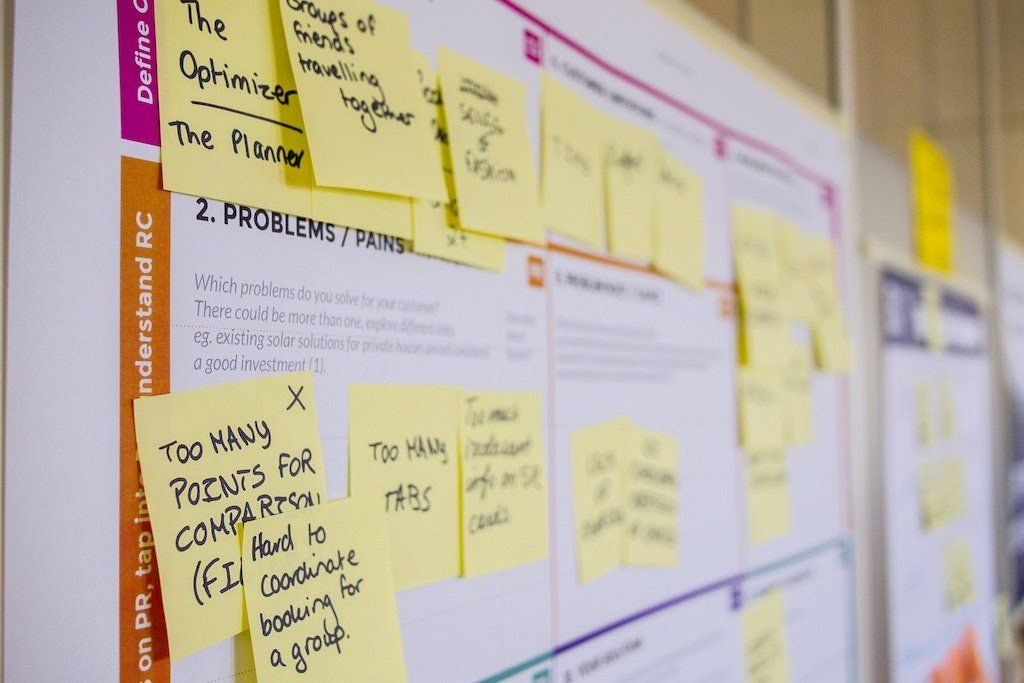 witeboard covered in sticky notes